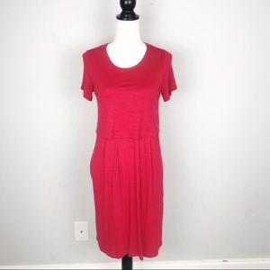 J. Jill Red Button Back Short Sleeve Dress